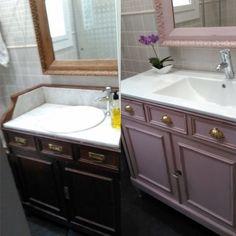 Mueble Baño pintado en Rosa Boheme de Mary Paint