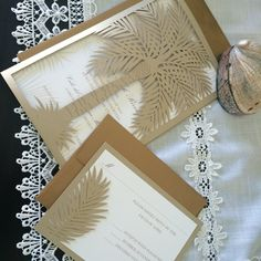 Custom Laser Cut Wedding Invitation Palm Tree by CelineDesigns