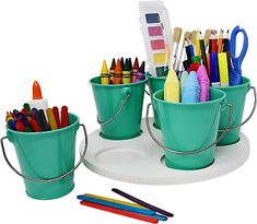 Craft Storage Turntable by Modern Retro - The Lazy Susan Art Craft Organizer Storage Bins - Organizers & Storage Containers for Crafts, Scissors, Kids Crayon Organizer Caddy! Art Supplies Storage, Art Storage, Storage Bins, Storage Containers, Crayon Organization, Storage Organization, Arts And Crafts Storage, Cosmetic Containers, Glass Spray Bottle