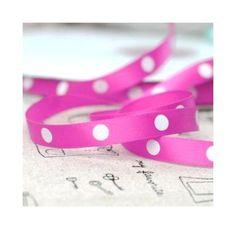 5 meters Ribbon Satin Pink Polka Dots 10mm - PerlesEtApprets - Wstążki satynowe