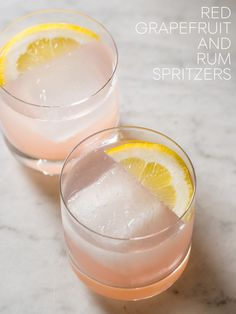 Red Grapefruit + Rum Spritzers cocktail recipe from Refreshing Drinks, Fun Drinks, Yummy Drinks, Alcoholic Drinks, Cocktail Drinks, Cocktail Recipes, Cocktails, Cheers, Spoon Fork Bacon