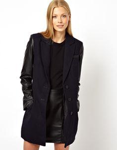 ASOS Coat With Contrast Sleeve & Zip Detail