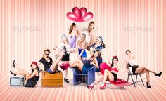 Group of 10 beautiful pinup girls in retro fashion - Stock Photo - Images