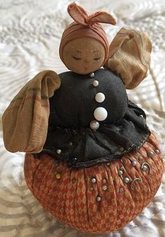 Antique Figural Peasant Lady Pin Cushion - Circa 1900 - Original Handmade.