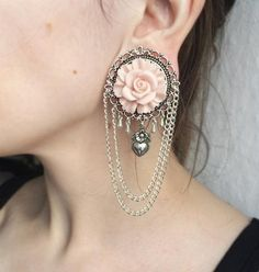silver chain Plugs with Rose #382