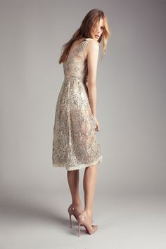 Amber French Hand Beaded Sleeveless Lace Dress by Collette Dinnigan.