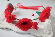 Couronne de fleurs coquelicots tissu rouge : Accessoires coiffure par fleurs-de-provence