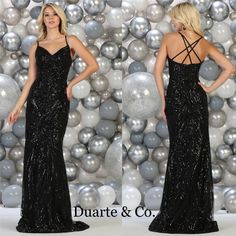 897582b449cd More ideas from Duarte & Co. Fashion. Electrifying Long Sequin Party Dress  has hand beaded sequin embroideries over mesh material with a criss