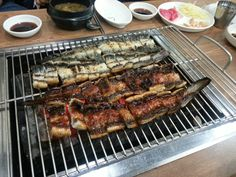 Grilled eel with spicy sauce and just sea salt on it.