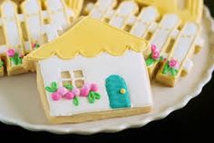 decorated house shaped cookies - Google Search