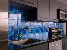 Create a checkerboard kitchen backsplash using stick-on holographic tiles. Mixing colors and designs gives your kitchen visual appeal. Glass Tile Backsplash, Kitchen Backsplash, Tiles, Diy Network, New Kitchen, Kitchen Ideas, Colored Glass, Holographic, Color Mixing