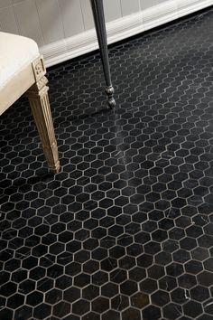 "ANN SACKS Nero Marquina 2"" hexagon marble mosaic in honed finish"