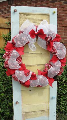 Plaid Burlap Christmas Wreath by East2Nest on Etsy, $60.00