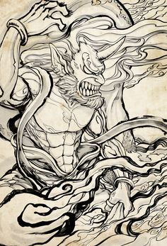 Fujin:Japanese God of wind Tatuajes Tattoos, Bild Tattoos, Irezumi Tattoos, Tatoos, Samurai Tattoo, Samurai Art, Tattoo Sketches, Art Sketches, Hannya Tattoo