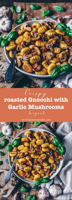Crispy fried gnocchi with garlic mushrooms (vegan) - Bi .- Crispy fried gnocchi with garlic mushrooms (vegan) - Easy Dinner Recipes, Pasta Recipes, Vegan Recipes, Easy Meals, Cooking Recipes, Vegetarian Gnocchi Recipes, Garlic Recipes, Vegetarian Recipes With Mushrooms, Recipes With Gnocchi