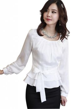 DPO Women's Chiffon Pleated Slim Fit Long Sleeve Round Neck Blouse,White Tag Size: 4Xl, US Size: 16