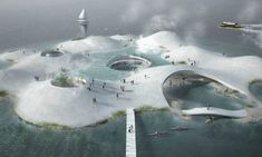 House of Water is part of Zaha Hadid architecture NYC - TREDJE NATUR designs a collaborative platform presenting new solutions to future water challenges House of Water displays the most advanced technologies f Floating Architecture, Water Architecture, Urban Architecture, Futuristic Architecture, Organic Architecture, Zaha Hadid, Isla Galapagos, Natur House, Water Challenge