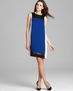 DKNYC Faux Leather Color Block Dress | Bloomingdale's