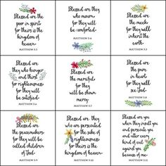 Beatitudes Printable Wall Art. Set of 10 printables featuring The Beatitudes from Matthew Chapter 5. Perfect for DIY wall art, gallery wall, cards, banners.