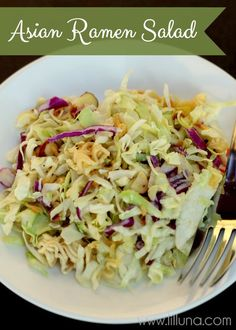Asian Ramen Salad ~ Ingredients: 2 bags of coleslaw mix, 3 packages chicken ramen noodles (set seasoning packets aside), 1 1/2 cups sliced almonds, 1 stick of butter, 1/2 cup canola oil, 1/4 cup salad vinegar (found near the dressings at the store), 1/3 cup sugar, 3 ramen noodle flavor packets.