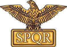 "Golden emblem of Roman Empire SPQR with eagle. It means ""senatus populusque romanus"" (The Roman Senate and people)"