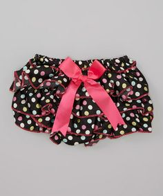 Love this Black & Hot Pink Bow Ruffle Diaper Cover - Infant on #zulily! #zulilyfinds