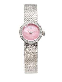 DIOR La D de Dior Diamond, Pink Mother-Of-Pearl & Stainless Steel Bracelet Watch. #dior #watch