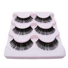 3 Pair Black Fiber Eyelash Lovely Girl False Eyelashes