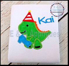 Dino 1st Birthday Applique Design   Dinosaur by EandOApplique