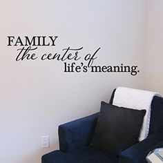 Family the center of life's meaning Vinyl Wall Decal by Wild Eyes Signs. HH2136. Family the center of life's meaning ~~PRODUCT DESCRIPTION~~ * Removable vinyl wall decal * Colors can be selected from color palatte from photo listing * Any sample photo used is for illustrative purposes. Measure area to ensure good fit. Custom sizing is available, please convo for quote. ~~CHECKOUT~~ *Please select COLOR and SIZE upon checkout ~~ABOUT PRODUCT~~ * Apply decals in area that is out of reach of...