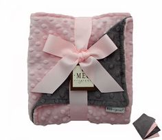 $35.99Charcoal Gray and Pink Minky Baby Blanket for Baby Girl  justdelivered.net