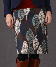 Take a look at this Brown Leaf A-Line Skirt on zulily today!