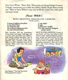 Dying for Chocolate: Snow White's Mint Frosted Chocolate Cookies: Vintage Cookbook & Recipe