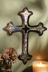 2 ft Jeweled Steel Fleur de Lis Cross