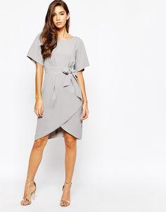 Image 4 ofCloset Tie Front Dress With Kimono Sleeve