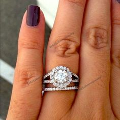 14K White Gold Round Diamond Split Shank Halo Engagement Ring With Wedding Band #br925silverczjewelry