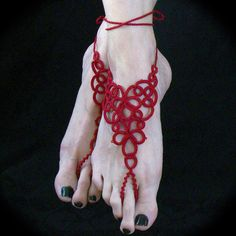 Tatted Barefoot Sandals  Barefoot Heart by TotusMel on Etsy