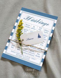 Yhdistä hääbingon raikkaan raidalliseen ilmeeseen merellinen paikkakortti ja suloinen kukka.  http://www.sarandia.fi/paperituotteet/haabingomallisto/