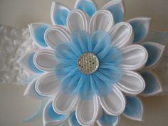 Headband kanzashi flower elastic band fabric by myflowersshop