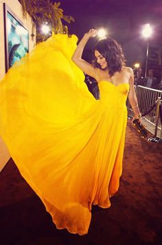 yellow, prom dress, flowing