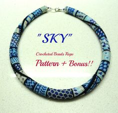 Blue Sky Crocheted Beads Rope necklace pattern by artefyk on Etsy, $15.00