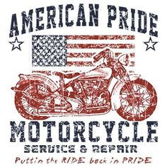 American Patriotic Shirt Screenprint - America Pride Motorcycle Biker T Shirt- Pro American Flag Shirts USA United States