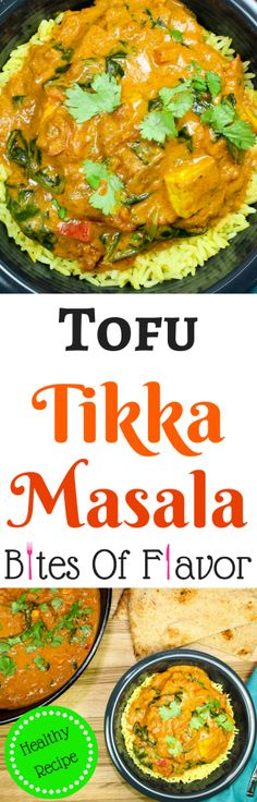 Tofu Tikka Masala-Creamy tomato sauce with Indian spices, mixed with crispy tofu and spinach is Indian comfort food in a bowl. Weight Watchers friendly recipe. www.bitesofflavor.com