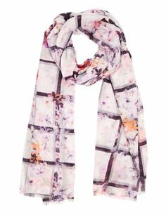 Limited Edition Lightweight Photographic Grid Floral Scarf-Marks & Spencer
