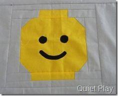 Lego face quilt block