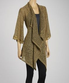 Another great find on #zulily! Brown Semi-Sheer Open Cardigan by J-MODE #zulilyfinds