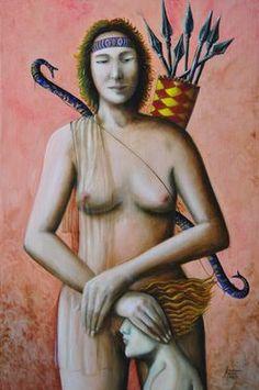 "Saatchi Art Artist Gianni Mucè; Painting, ""DIANA THE HUNTRESS"" #art"