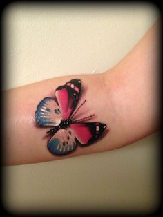Realistic pink and blue butterfly tattoo 3d by *Slabzzz on deviantART