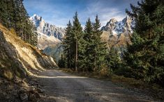 Download wallpapers mountain road, forest, rocks, mountain landscape, Canada