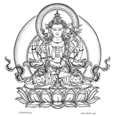 The Bodhisattva of Great Compassion is called Chenrezig in Tibetan. This detailed drawing is made by Carmen Mensink. Line Drawing, Drawing Sketches, Drawings, Buddha Drawing, Buddha Painting, Framed Art Prints, Fine Art Prints, Thangka Painting, Buddhist Art